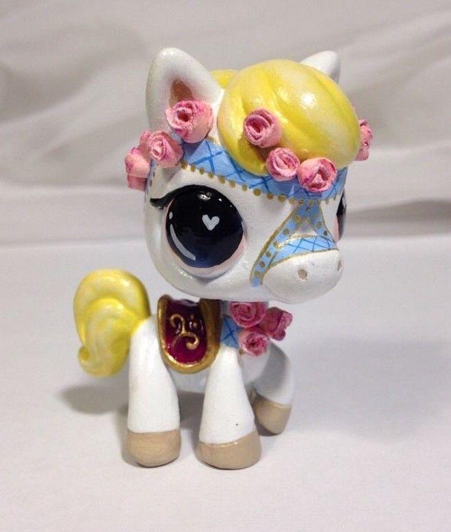 Littlest pet shop * Carousel Rose Horse * Custom Hand Painted LPS Pony OOAK  #Hasbro