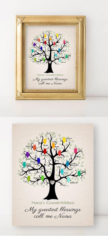 Nana And Papa Gift Grandma Canvas Grandchildren Names