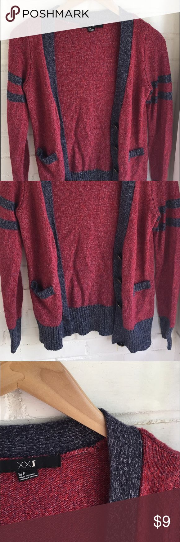 Red Cardigan Sweater Stylish red and blue cardigan sweater with gold intricate buttons. Product from Forever 21 and is in good condition! Forever 21 Sweaters Cardigans