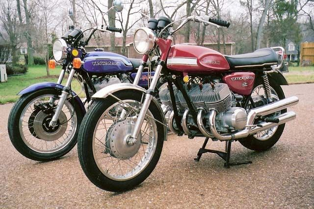 """Clive Adams' 850cc five-cylinder H1 (front) and its 1,250cc five-cylinder H2-based big brother (rear). Photo and article (""""Custom-built Five-cylinder Motorcycles"""") by Clive Adams, Motorcycle Classics January February 2011."""