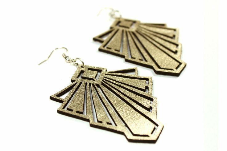 art deco leather earrings in pale gold