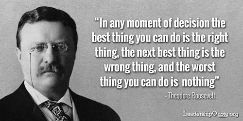 """""""In any moment of decision the best thing you can do is the right thing, the next best thing is the wrong thing, and the worst thing you can do is nothing.""""  ~ Theodore Roosevelt"""