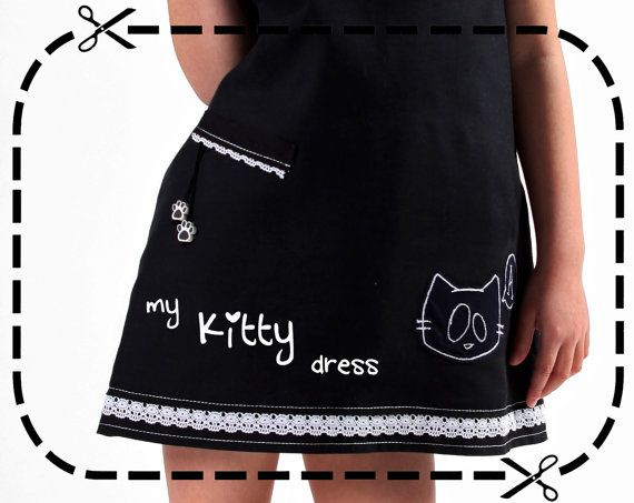 Handmade personalised black kitty girl's dress with by LaLoOLa