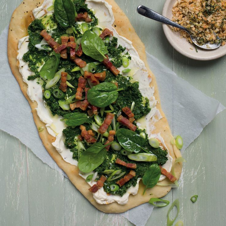 Spinach, cream cheese and bacon flatbread - MyKitchen