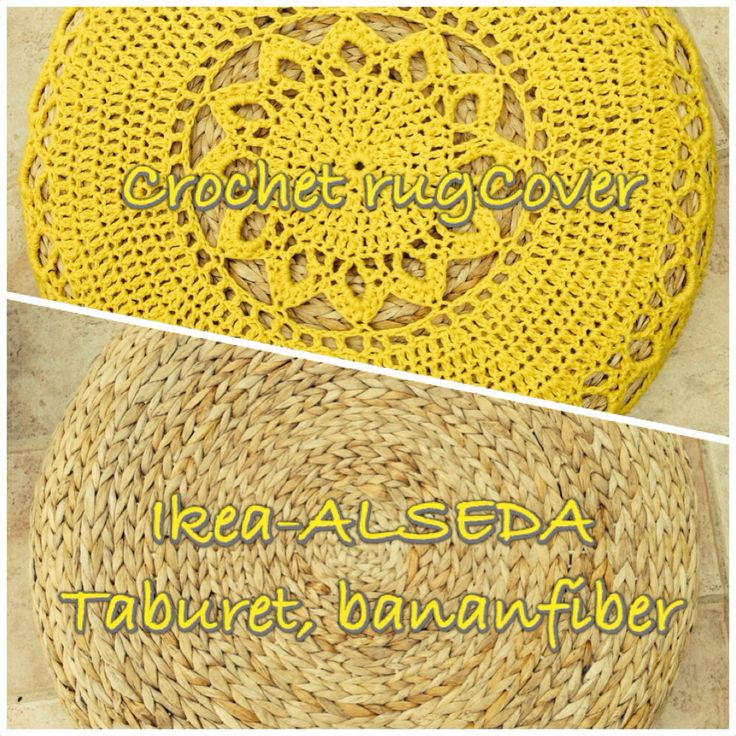 Homemade  Ikea Hack- Alselda taburet With crocheted rug- Drops Pattern