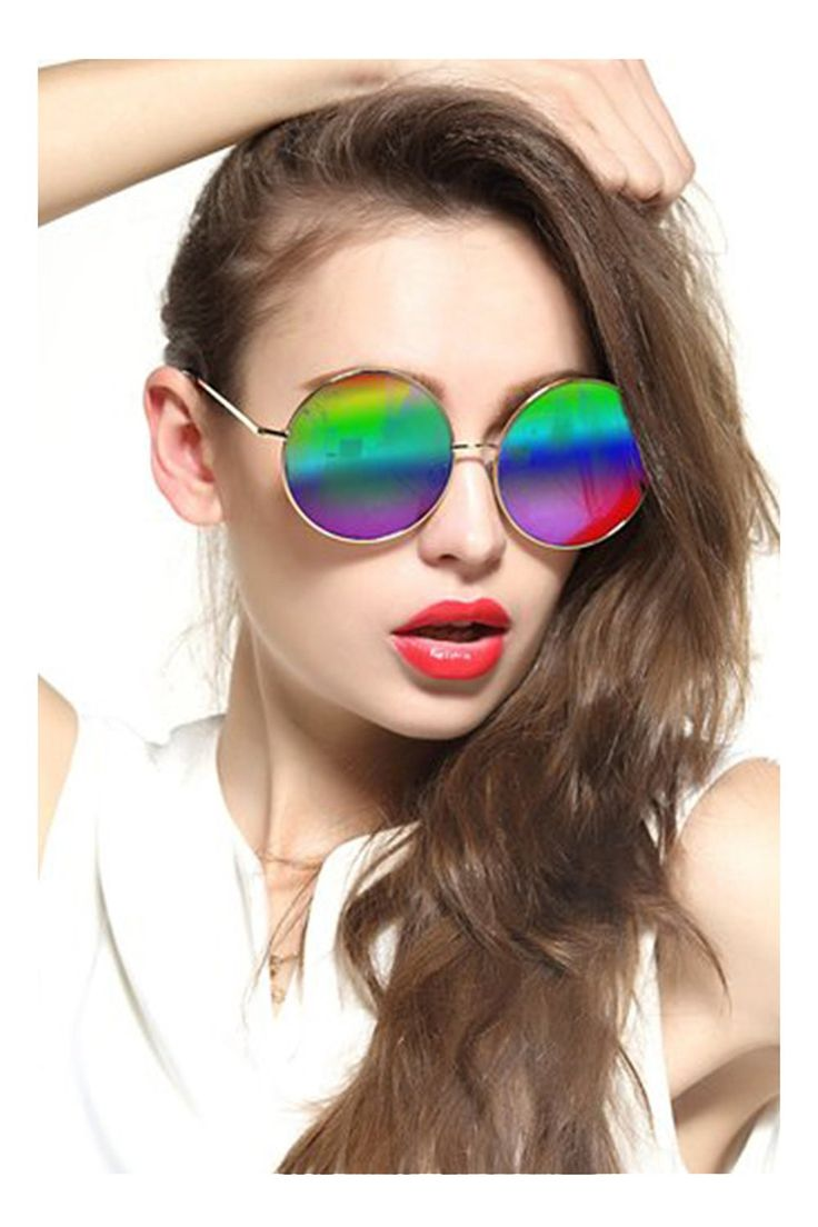 GEELOOK Oversized Round Circle Mirrored Hippie Hipster Sunglasses - Metal Frame Multicoloured as picture