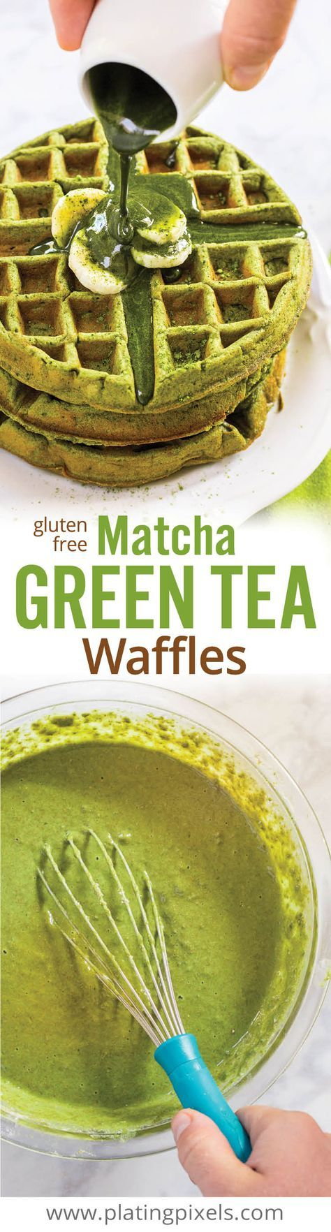 Protein rich, healthy matcha green tea waffles. Made with matcha green tea powder, oat flower, coconut milk, egg, olive oil, honey and banana. Gluten free and clean eating. www.platingpixels.com