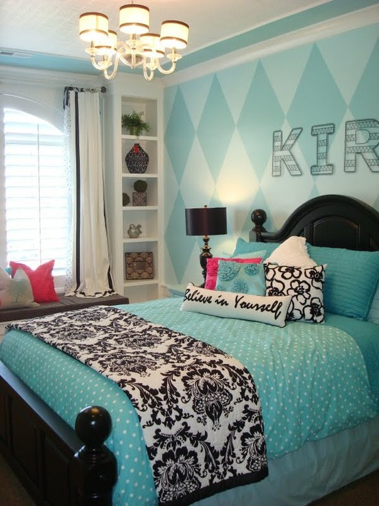 Teal room.  Wire wall letters, chandelier, and believe in yourself pillow are from pbteen.  The pink and blue rose pillows look like they are a same pillowcase from pbteen, which were originally white, dyed pink and blue.