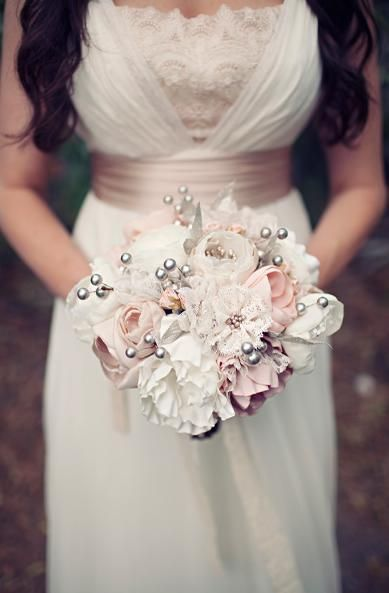 Pretty soft colors for lace and fabric flower bouquet
