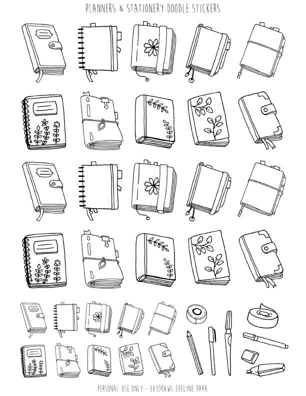 Planners Stationery Doodle Stickers Printable Handdrawn Bullet