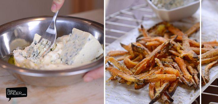 Γλυκοπατάτες φούρνου με blue cheese dip