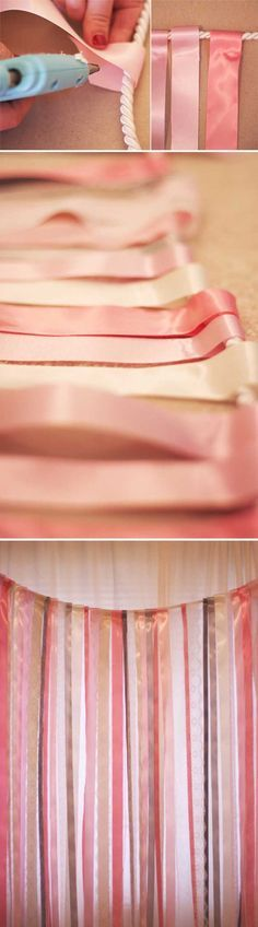 Simple DIY Photo Booth Backdrop Tutorial | Ribbon and Lace Backdrop by DIY Ready at http://diyready.com/20-diy-photo-booth-ideas/