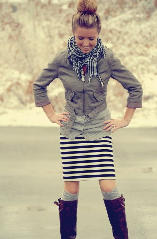 boots & scarf & skirtKnee High, Style, Tall Boots, Stripes Skirts, Striped Skirts, Pencil Skirts, Boots Socks, Fall Outfit, Cute Outfit