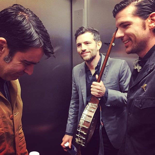 The Avett Brothers in some elevator somewhere. Photo: @crackerfarm