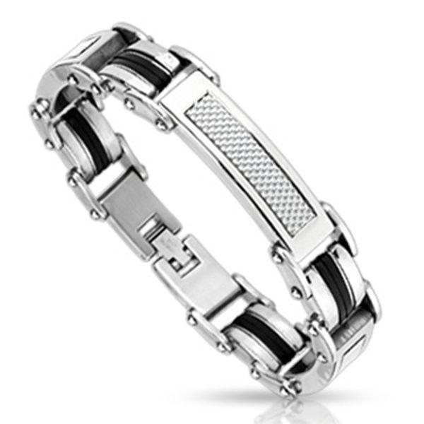 Polished Stainless Steel Bracelet inlay with Silver Carbon Fiber and Rubber trimmed barrel links http://lily316.com.au/shop/bracelets-mens-stainless-steel/stainless-steel-bracelet-with-white-carbon-fiber-inlay/