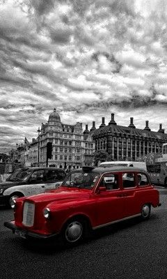 Beautiful Black n white photography with red vintage Car..