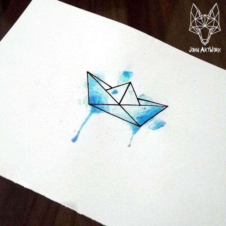watercolor origami boat - Google Search