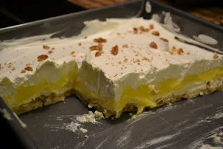Lemon Lush Dessert.  This was always my favorite and I still ask my Oma to make this for me when I come to visit.  :)