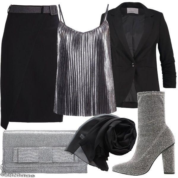 Blazer nero abbinato a top plissettato color grigio e longuette nera con cintura. Per gli accessori ho scelto stivaletti con tacco largo color silver, pochette grigia con fiocco e stola in seta nera.