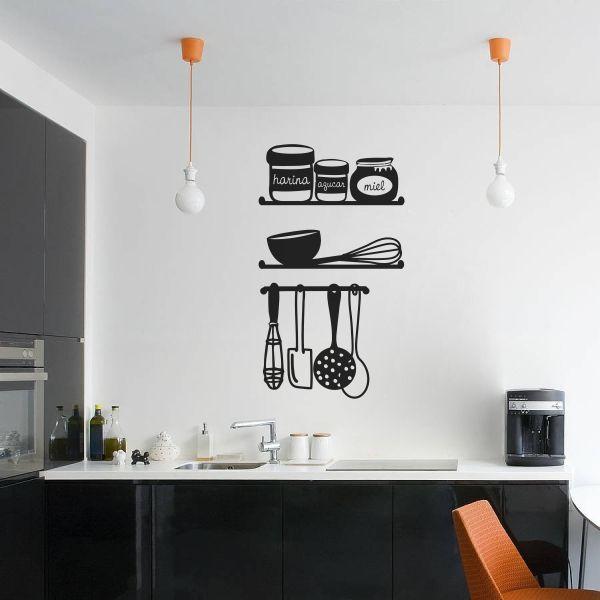 Vinilo decorativo con siluetas de baldas de cocina con for Vinilos de cocina