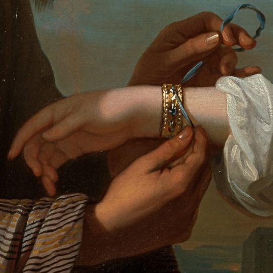 'Isaac's Servant Tying the Bracelet on Rebecca's Arm' → Benjamin West - 1738/1820 - Pintor anglo-americano.