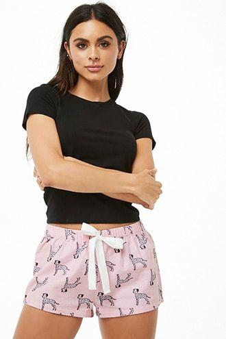 608fc2b56b1 Flannel Dalmatian Print Pajama Shorts | Products | Pajama shorts ...