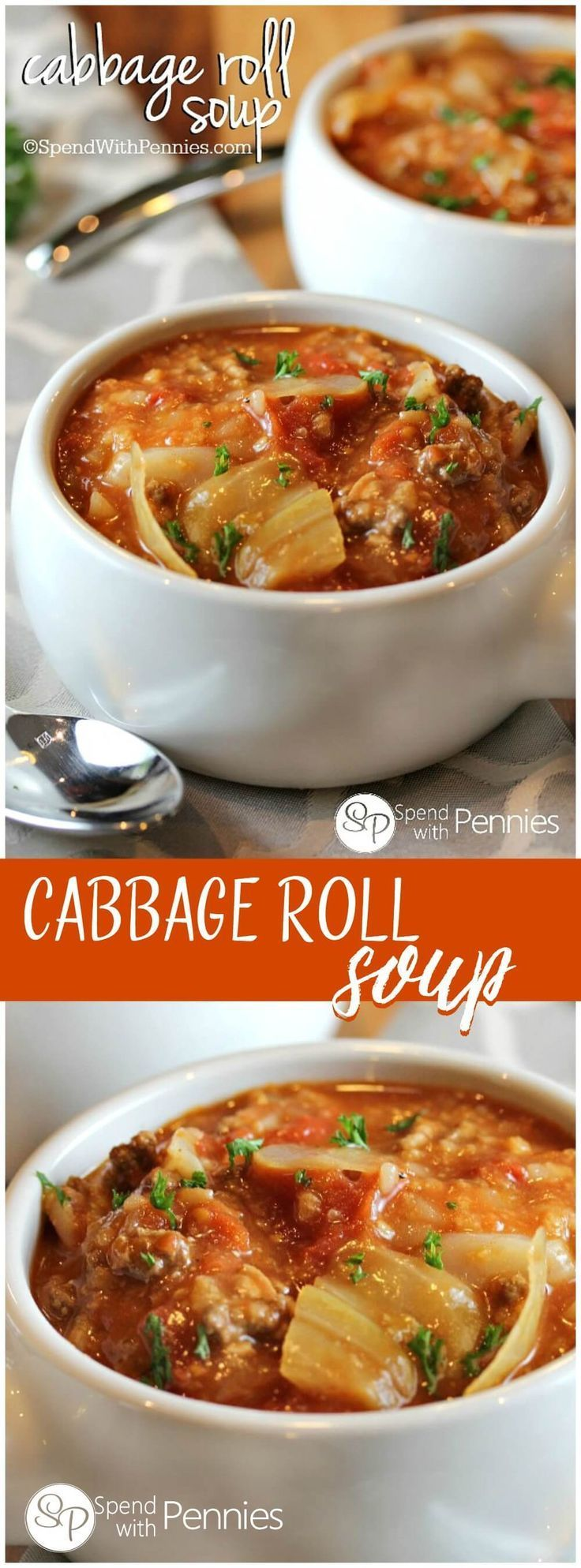 Cabbage Roll Soup is my favorite way to enjoy cabbage rolls! Loads of cabbage, meat and rice in a flavorful tomato broth make the perfect comfort food! http://www.spendwithpennies.com/cabbage-roll-soup-2/