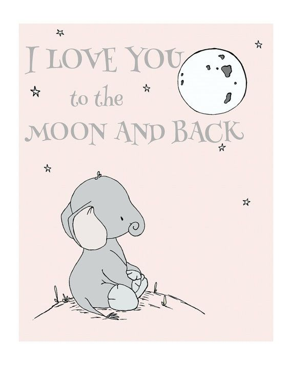 Elephant Nursery Art -- I Love You To The Moon And Back -- Nursery Quote -- Star Art --  Pink and Gray -- Children's Art -- Kids Wall Art