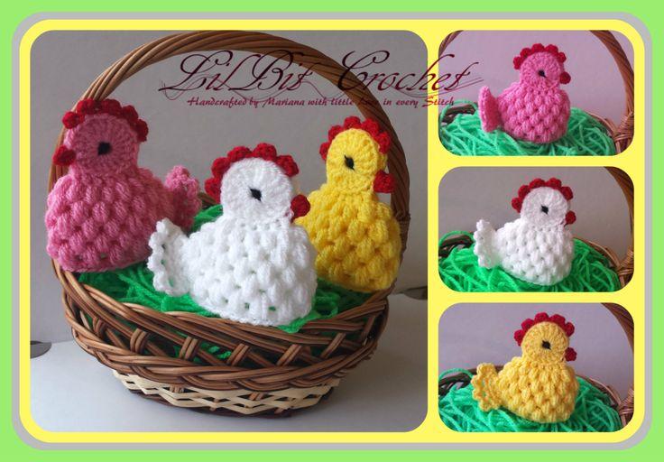 La main oeuf poulet Pâques Crochet confortable / par LilBitCrochet