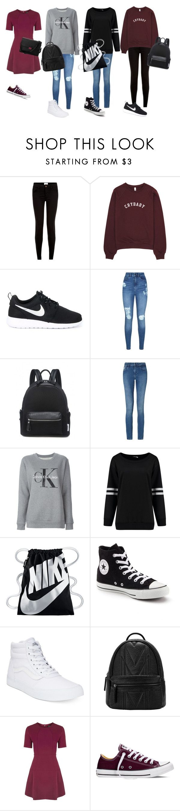 """4 spring outfits"" by barbi2003 on Polyvore featuring NIKE, Lipsy, Calvin Klein, Calvin Klein Jeans, Converse, Vans, Topshop and Aspinal of London"