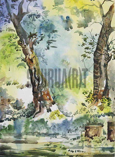 Painting of trees inside Banaras Hindu University Campus