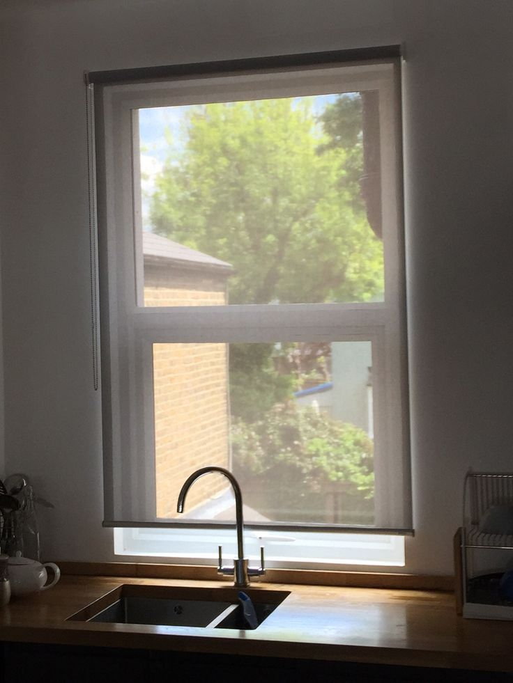 Steel Grey Sunscreen Blind Fitted To Kitchen In Tooting