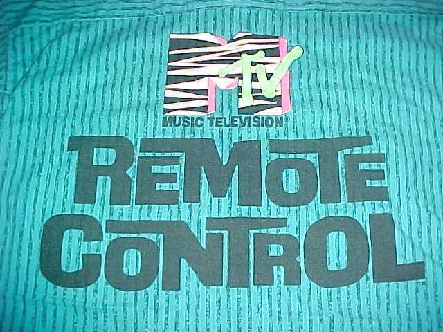 M TV Music Television Remote Control Shah Safari Blue Black Stripes Camp Shirt M #ShahSafari