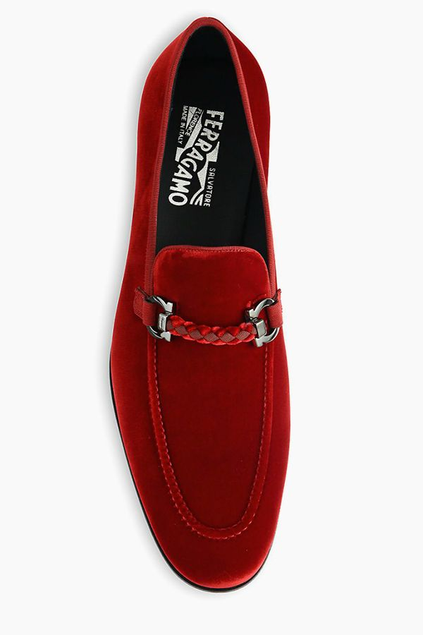 Give your look that perfect final touch with these red velvet #Ferragamo loafers #SaksMen