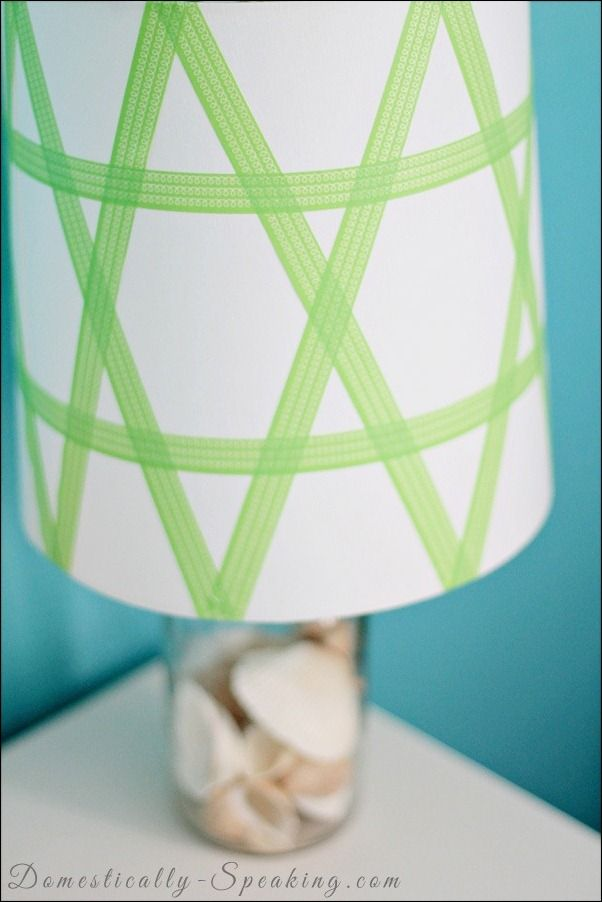 Washi Tape Lampshade @ Domestically Speaking