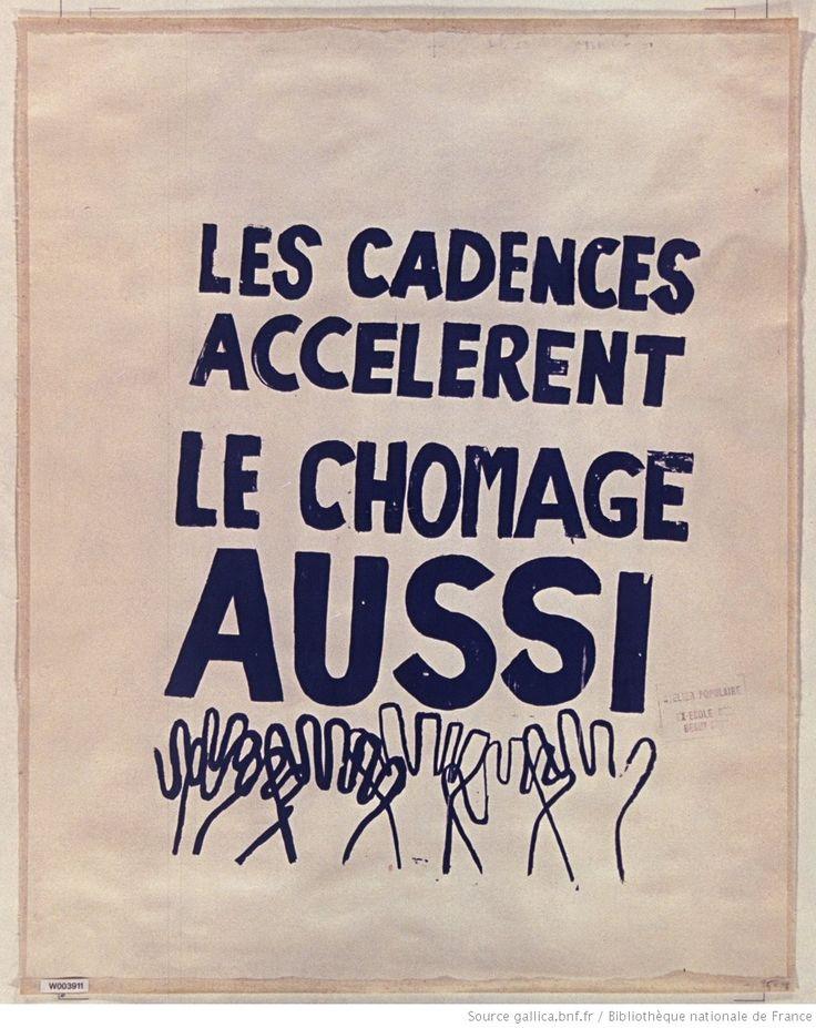 [Mai 1968]. Les cadences accélèrent, le chomage aussi, août 1968, Atelier populaire ex Ecole des Beaux arts : [affiche] / [non identifié]