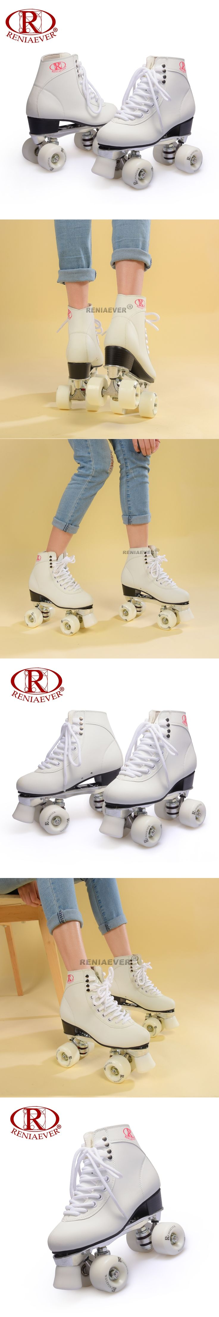 Roller Skates Genuine  Double Line Skates Adult 4 Wheels Two line White Aluminum Alloy metal chassis Polyurethane wheels