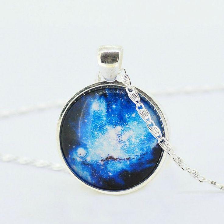 Кулон голубая галактика на цепочке 3,5х3 см