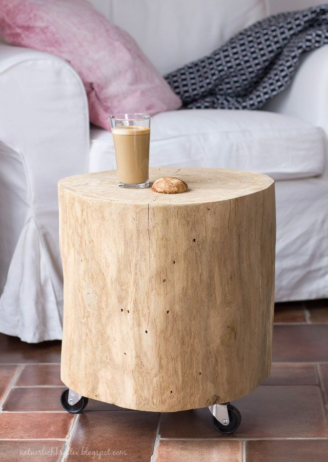 natuerlichkreativ: Holzklotz, Eichenstamm, Beistelltisch, DIY