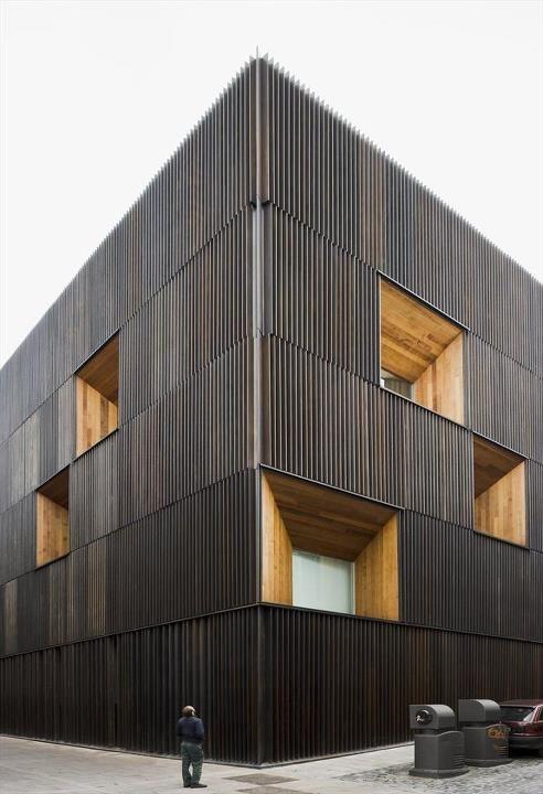 black wood cladding- so cool.