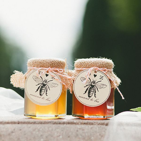 """Make homemade honey jar favors even sweeter with these """"meant to bee"""" tags, customized with your initials and wedding date. The tags come with coordinating baker's twine in the color of your choice."""