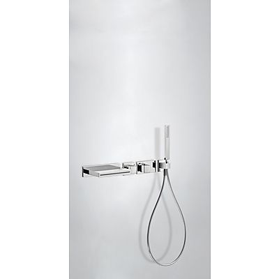 Concealed thermostatic bath ki Concealed thermostatic bath kit; with water shut off and flow control. (2 ways). · Steel cascade cast spout · Elbow wall. · Antilime hand shower. (202.639.01). · Satin hose (91.34.609.15).: chrome finish