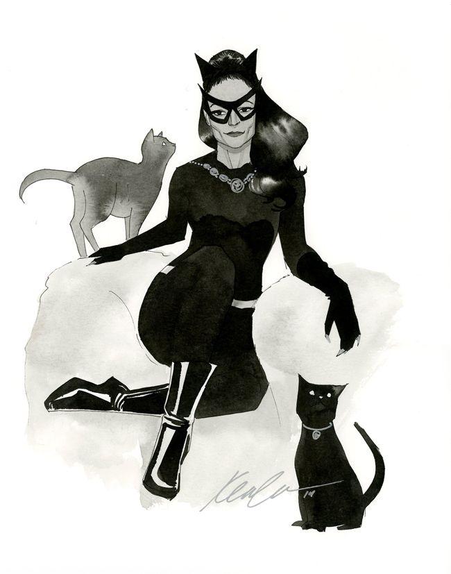 """kevinwada: """"Eartha Kitt - Catwoman HeroesCon 2014 sketch Based off a classic glamor shot of Eartha. """""""