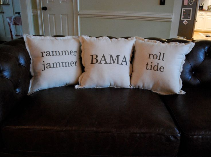These would be great in living room for football season!!!  or Mom can embroider them for you.  Natural Linen Alabama Themed Pack of 3 Throw Pillows. $65.00, via Etsy.