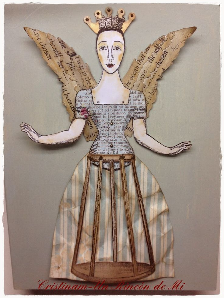 Work by Cristina Mendizabal Almenara of Spain, working with art stamps by Character Constructions (Face She Sells Seashells No. 6 and the Santos stand and dress are from Timekeeper's Garden).