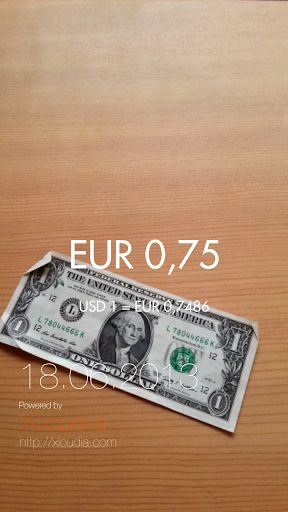 Currency conversion, re-invented ! <br>And now free ! And now it is faster !<br>An amazing currency converter.<br>Simply point your smartphone at a banknote and Xloudia ConverterXpress instantly converts its value into your home currency.<br>Xloudia Curre
