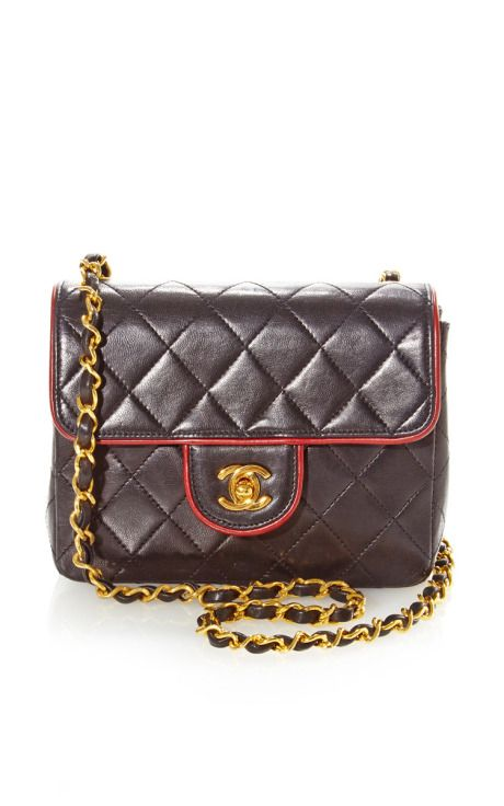 Vintage Chanel Black Red Piping Half Flap From What Goes Around Comes Around by Vintage Chanel for Preorder on Moda Operandi