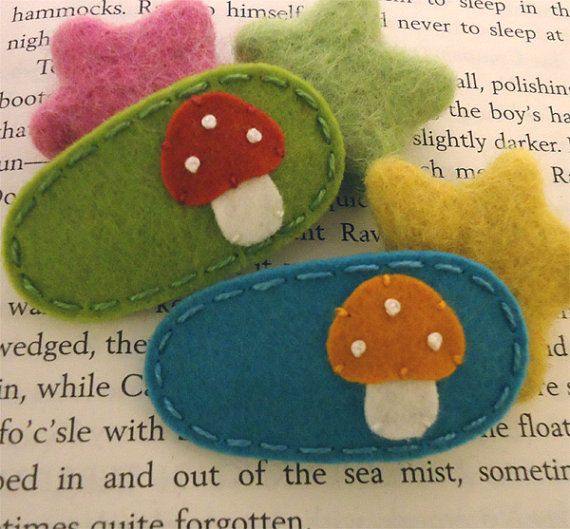 NO SLIP Wool felt hair clip -set of 2 toadstool -mini -yellow-green / teal on Etsy, $12.00