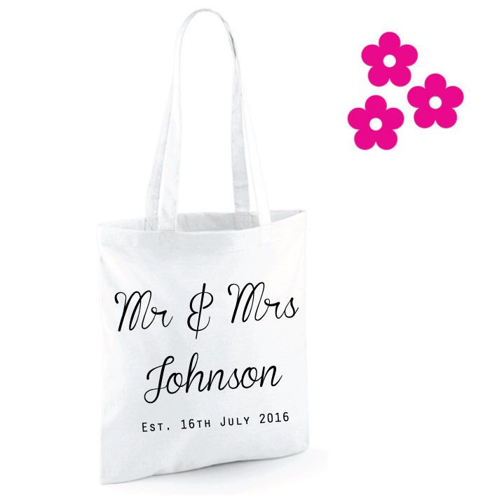 Custom Wedding Bag. Mr and Mrs Bag. Custom Tote Bag. Custom Wedding Tote. Honeymoon Gift. Anniversary Gift. Bridal Gift. Wedding Gift. by SoPinkUK on Etsy