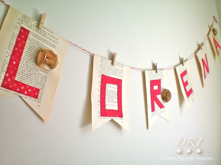 Decora Recicla Imagina …: Guirnalda de Libros Viejos y Fabric Tape - Old Book Garland